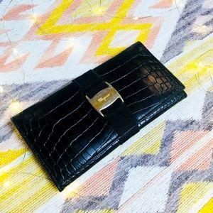 Salvatore Ferragamo Black Crocodile Vara Wallet